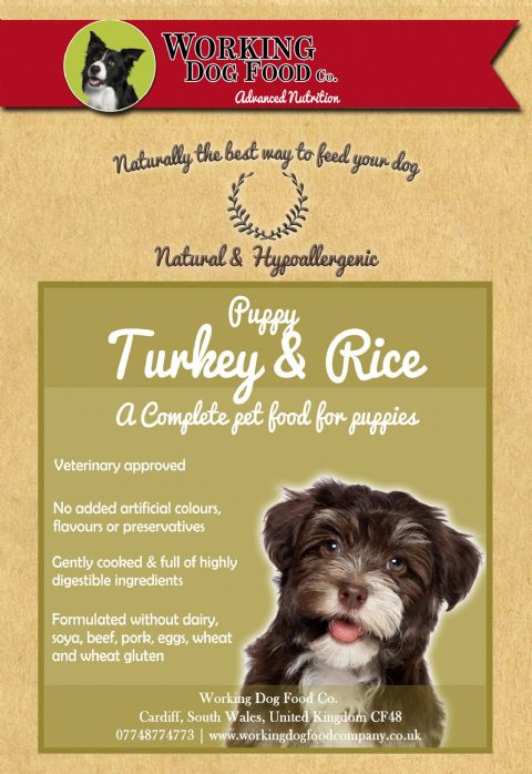 Naturally preserved & Hypo-allergenic Puppy Turkey & Rice Complete Dry Dog Food